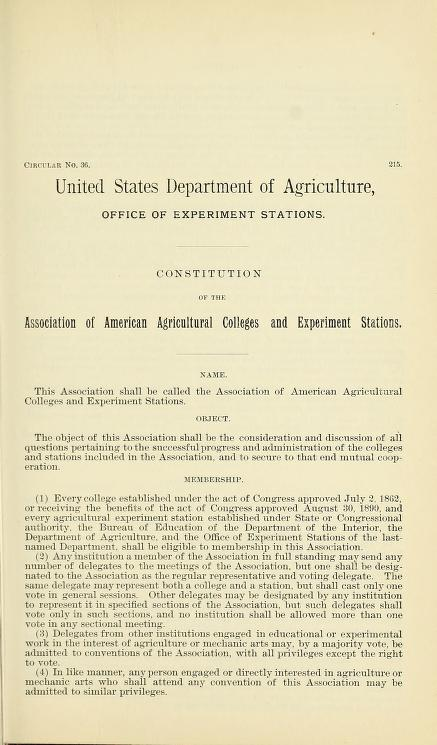 Constitution of the Association of American Agricultural Colleges and Experiment Stations by United States. Department of Agriculture